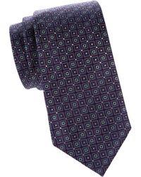 Corneliani Geometric-print Silk Tie - Purple