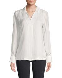 Calvin Klein Spread Collar Long-sleeve Top - White