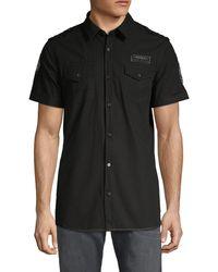 Buffalo David Bitton Short-sleeve Cotton Shirt - Black