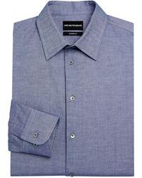 Emporio Armani Modern-fit Chambray Dress Shirt - Blue