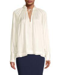 Jonathan Simkhai Cupro Tie-neck Blouse - White