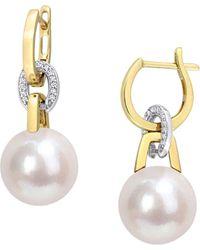 Saks Fifth Avenue 14k Two-tone Gold, Pearl & Diamond Dangle Earrings - Metallic