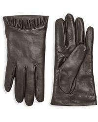 Portolano Pleated-trim Leather Gloves - Brown