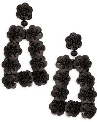 Ava & Aiden Goldtone Sequin & Bead Cutout Statement Earrings - Black