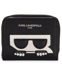 Karl Lagerfeld Logo Zip-around Wallet - Black
