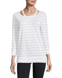 Marc New York - Striped Cut-out Three-quarter Top - Lyst
