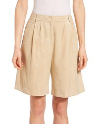 Lafayette 148 New York Suede Clarkson Shorts - Natural