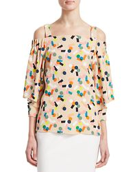 Akris Punto Belai Print Cold Shoulder Blouse - Multicolour