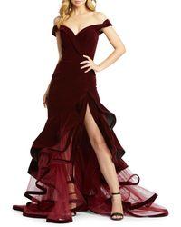 Mac Duggal Women's Tiered Velvet Trumpet Gown - Burgundy - Size 0