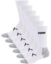 PUMA 6-pair Logo Crew Socks - White