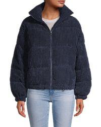 Vigoss Women's Corduroy Puffer Jacket - Navy - Size L - Blue