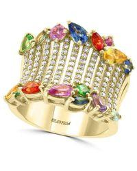 Effy Women's 14k Gold, Diamond, Sapphire & Tsavorite Ring/size 7 - Size 7 - Metallic
