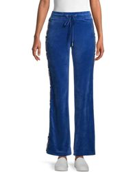 Juicy Couture Women's Logo-tape Velour Track Pants - Coco Red - Size Xs - Blue