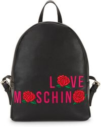 Love Moschino - Rose Embroidery Leather Backpack - Lyst