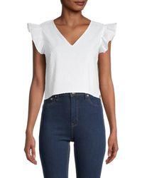 Jack BB Dakota Women's Alpine Flutter-sleeve Cropped Top - Optic White - Size S