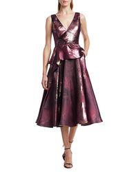 Marchesa Metallic Jacquard Peplum Tea Gown - Multicolour