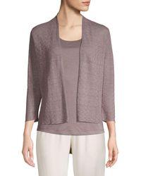 Eileen Fisher Fine Organic Linen-blend Crepe Cardigan - Multicolour