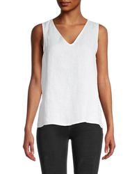 Saks Fifth Avenue V-neck Linen Tank Top - White