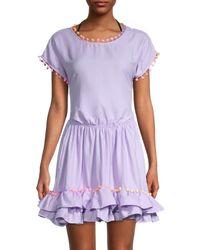 Peixoto Women's Nissi Pom-pom & Ruffle Coverup Dress - Lavender - Size S - Purple