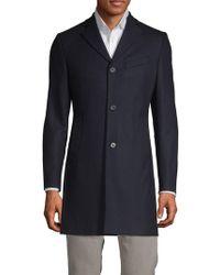 J.Lindeberg - Notch Lapel Wool Blend Coat - Lyst