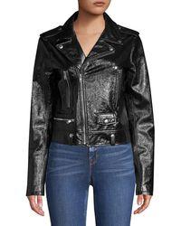 Elie Tahari Jacalyn Patent Leather Moto Jacket - Black