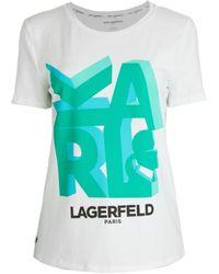 Karl Lagerfeld Women's 3d Karl T-shirt - White Roman - Size Xl