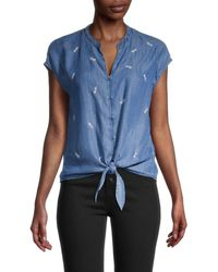 Saks Fifth Avenue Embroidered Tie Waist Button-down Top - Blue