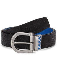 Robert Graham Men's Senegal Reversible Leather Belt - Black Blue - Size 36