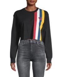 True Religion Women's Stripe-design Cotton Cropped Sweatshirt - Black - Size Xl