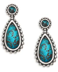 Lagos Sterling Silver, 14k Yellow Gold & Chrysocolla Drop Earrings - Multicolor