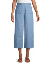 BCBGeneration Cropped Wide-leg Trousers - Blue