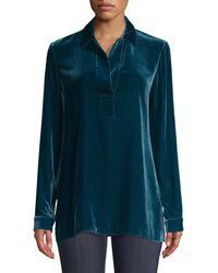 Lafayette 148 New York Women's Fin Velvet Blouse - Empress Teal - Blue