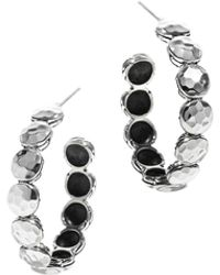 John Hardy Dot Hammered Sterling Silver Hoop Earrings - Metallic