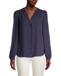 Tommy Hilfiger Women's V-neck Blouse - Midnight - Size L - Blue