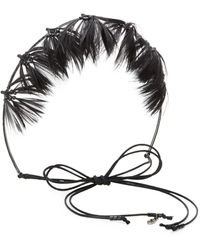 Valentino Garavani Glam Feather Crown Hairband - Black