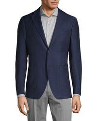 Saks Fifth Avenue Plaid Wool Sport Jacket - Blue