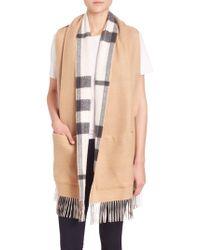 Burberry Helene Cashmere & Wool Pocket Stole - White