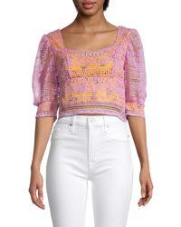 Lea & Viola Women's Lace-overlay Cropped Blouse - Lavender Multi - Size M - Multicolour