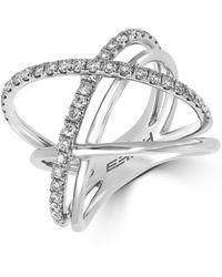 Effy - Diamond And 14k White Gold Ring 0.79 Tcw - Lyst