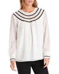 Karl Lagerfeld - Blouse With Contrasting Lace Yoke - Lyst