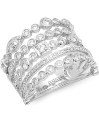 Effy - 14k White Gold & Diamond Multi-stack Ring - Lyst