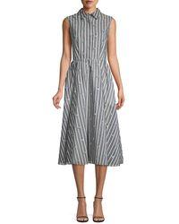 Jason Wu Sleeveless Stripe & Floral Day Dress - Grey