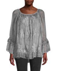 Le Marais Women's Ruffle & Embroidery Tunic - Gray - Size S