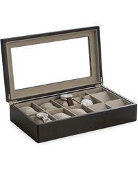 Bey-berk Matte Black Wood Six Watch & Four Pocket Watch Storage