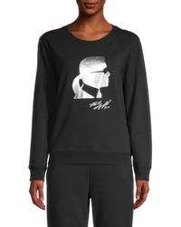 Karl Lagerfeld Women's Metallic Graphic Sweatshirt - Black Silver - Size Xl