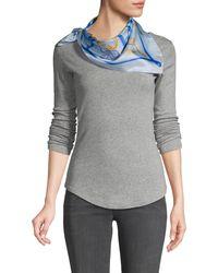 Boutique Moschino Mixed-print Silk Wraparound Scarf - Blue