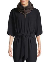 Lafayette 148 New York Cashmere & Mink Fur Full-zip Scarf - Black