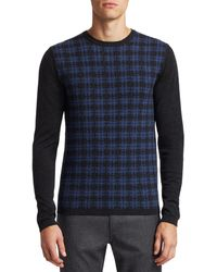 Saks Fifth Avenue Collection Wool Distressed Plaid Jumper - Blue
