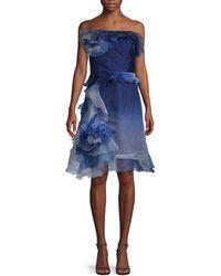 Marchesa Off-the-shoulder Dress - Blue