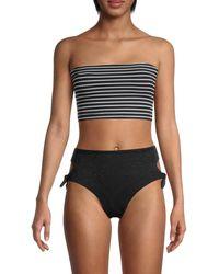 Robin Piccone Striped Bandeau Bikini Top - Black